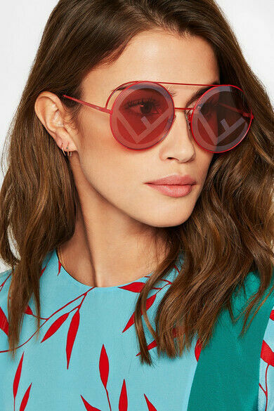 FENDI RUN AWAY FF 0285/S C9A Red Round Metal Sunglasses 63mm image 2