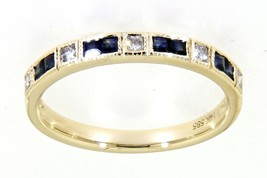 Blue Sapphire Gemstone 14K Yellow Gold 0.36CT Real Diamond Wedding Band ... - $1,445.00