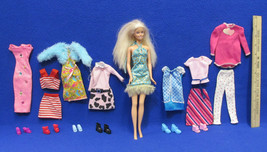 Vintage 1999 Barbie Doll with 8 Outfits & 6 Pairs of Shoes Lot of 15 - $16.82
