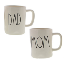 Rae Dunn Artisan Collection by Magenta DAD & MOM Coffee Mugs Set of Two  - £27.56 GBP