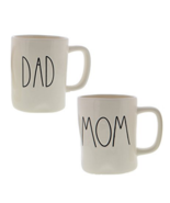 Rae Dunn Artisan Collection by Magenta DAD & MOM Coffee Mugs Set of Two  - £29.06 GBP