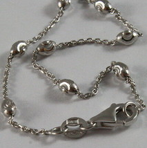 SOLID 18K WHITE GOLD CHAIN NECKLACE FACETED MINI BALLS LINK 17.71 MADE IN ITALY image 2