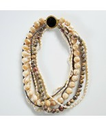 Vintage Multi Stone Bead Necklace Ocean Jasper Shell Pearls Onyx Hematit... - $148.49