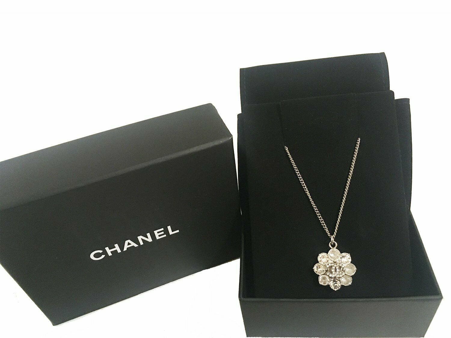 Chanel - Crystal Camellia Flower Pendant - Silver