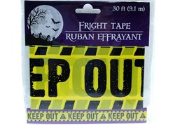 1x 30 ft Yellow Keep Out Fright Tape Halloween Decoration Haunted