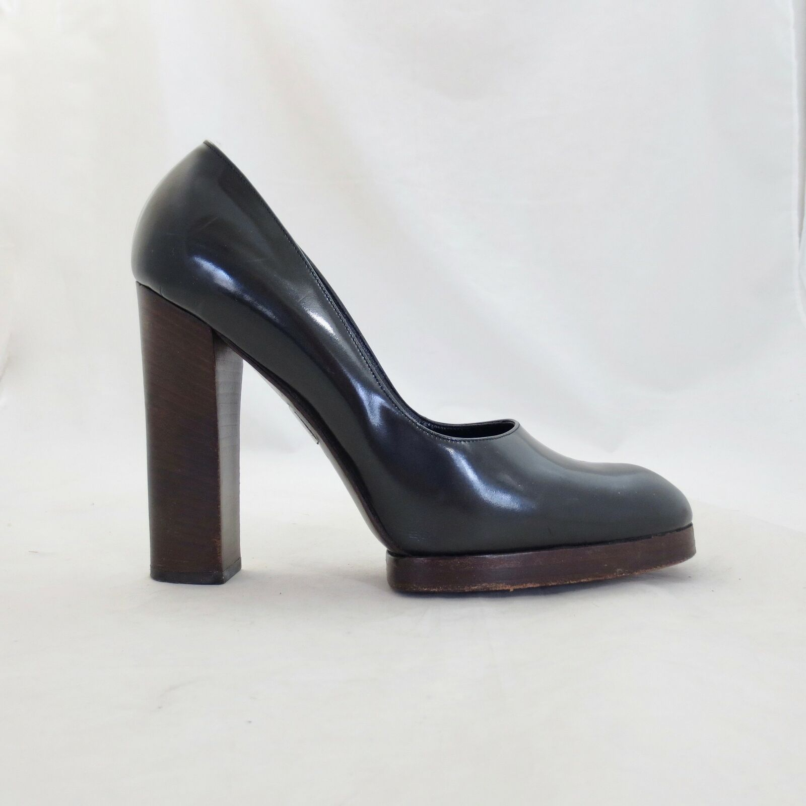 Primary image for 9.5 - Gucci Black Smooth Leather Platform High Block Heel Pumps Shoes 0424CR