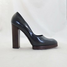 9.5 - Gucci Black Smooth Leather Platform High Block Heel Pumps Shoes 04... - $165.00