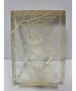 Vintage Etched Glass Owl on Branch San Pacific San Francisco - D1 - $22.03