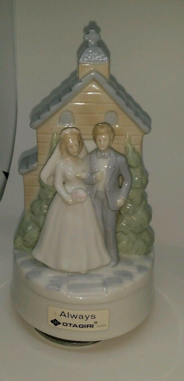 Vintage Otagiri Japan Porcelain Bride & Groom Church Turning Figurine Music Box image 5