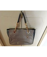 Authentic Bvlgari Black & Beige Woven Leather Tote with Gold Hardware/Charm - $1,285.51