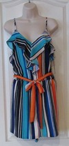 Jennifer Lopez Paridise Palm Multi-color Stripe Romper Women's Sz 12 NWT... - $24.92