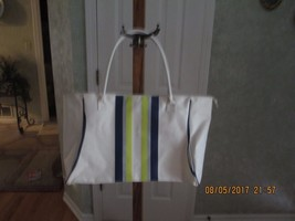 Brand New Tote Bag cream with blue and lime green stripe - $201,09 MXN