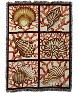 54x70 SHELLS CORAL Beach Ocean Nautical Afghan Throw Blanket  - $60.00