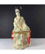 GEISHA PORCELAIN STATUE Asian sculpture figurine antique Japan gold kuti... - $222.75