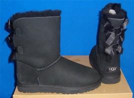 UGG Australia Black Bailey Bow Suede Sheepskin Boots Size US 5,EU 36 NEW 1002954 - $123.70