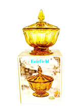 VTG Anchor Hocking Fairfield Amber Pedestal Glass Candy Compote Dish w/ Box - $19.79