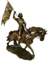 ROMAN CATHOLIC SAINT JOAN OF ARC on Horse W/ Flag Sculpture Statue Bronz... - $81.00