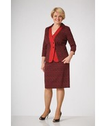 PARTY SKIRT SET WORK SUIT RED STRETCH MADE IN EUROPE 3/4 SLEEVE M L XL 2XL - $142.40