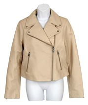 NEW J Crew Collection Leather Motorcycle Jacket Winter Coat  E1781 00 Beige - $248.39