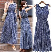 Women Fashion Boho Floral Sleeveless Long Dress Summer Maxi Evening Part... - $18.99