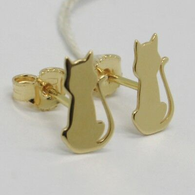 SOLID 18K YELLOW GOLD EARRINGS, WITH FLAT CATS, LENGTH 13 MM, MADE IN ITALY
