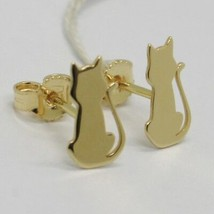 SOLID 18K YELLOW GOLD EARRINGS, WITH FLAT CATS, LENGTH 13 MM, MADE IN ITALY image 1
