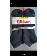 6 Pair Wilson Men's CUSHIONED Socks Crew RUNNING 6-12 Black New 45% Cotton - $16.95