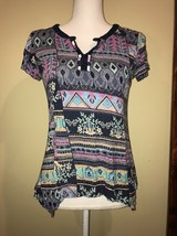 RXB Womens Shirt Multi Color Patterned Short Sleeve Size Small - $10.00