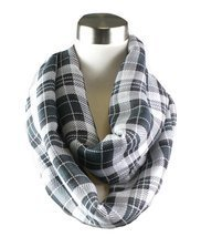 Modadorn Multi Color Plaid Infinity Black Scarf - £9.63 GBP