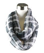 Modadorn Multi Color Plaid Infinity Black Scarf - $15.99 CAD
