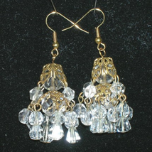 Victorian Style Crystal Chandelier Earrings 1930s Vintage Bohemian Crystals - $45.59