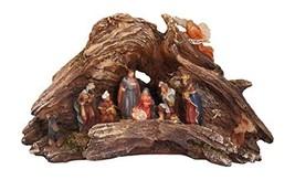 Stunning Lighted Wood Knot Manger Tabletop Christmas Nativity Scene - $83.39