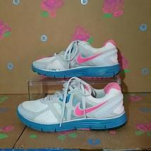 Nike Lunaglide White Pink & Blue Sneakers Size 7.5 - $29.99