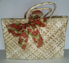 Handwoven & Eco-Friendly Bag with Red Printed Bow for women made from La... - $30.00