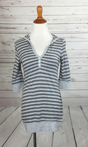 Splendid Striped Hooded Knit Top sz Medium Sparkle Accent Free shipping - $19.79