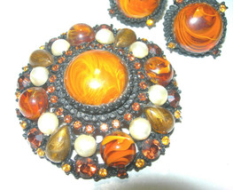 VINTAGE LUCITE RHINESTONE BUTTERSCOTCH BROWN BROOCH EARRINGS - $175.00