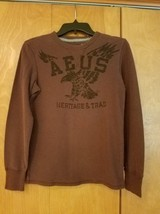 American Eagle Vintage Fit Thermal Brown Long Sleeve Shirt Size XSmall - $9.99