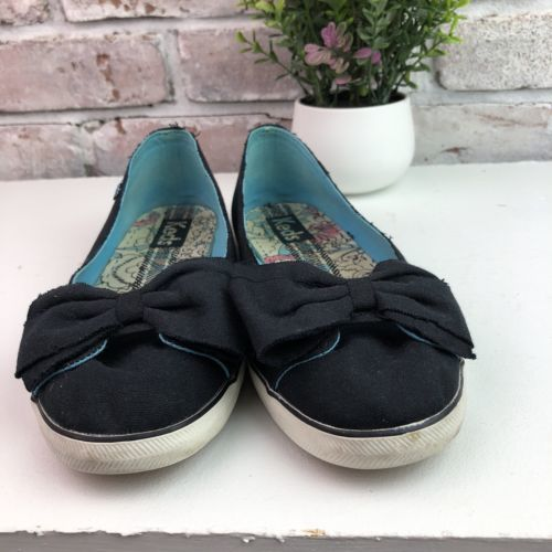 472f1ea0ffd14 KEDS Women Navy Canvas Rag Bow Slip On Shoes Sneakers Ballet Flats 6M
