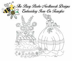 Crinoline Ladies Lady Garden Gal Belle Embroidery Iron-On Transfer #9 - $9.89