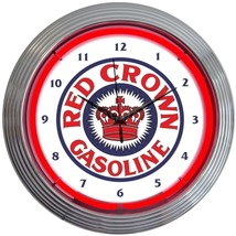 "Red Crown Gasoline Neon Clock 15""x15"" - $69.00"