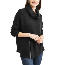 Faded Glory Women's Side Zip Cowl Sweater Size X-Large 16-18 New Black Soot - $21.77