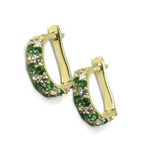18K YELLOW GOLD MINI 10mm CIRCLE HOOPS EARRINGS, GREEN & WHITE CUBIC ZIRCONIA image 1