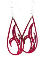 GreenTree Jewelry Grass Blade Drop Wine Color  Wooden Laser Cut Earrings... - $9.99