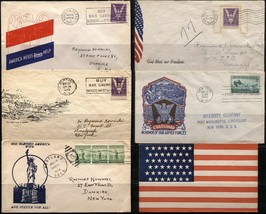 6 USA WWII WAR Patriotic Covers Envelope Collection Stamps Postage - $37.80