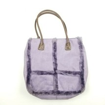 Liz Claiborne Shoulder Bag Tote Faux Fur Faux Suede Purple - $12.59