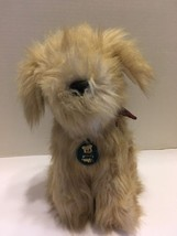 "Vintage Dakin Terrier Plush Dog Plaid Bow Tan 12"" 1986 Stuffed Toy - $11.29"