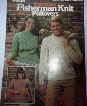Leisure Arts Extra Easy Fisherman Knit Pulllovers Leaflet 227 1982 - $6.99