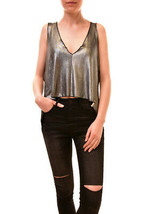 One Teaspoon Women's Vanderbilt Top Platinum Silver Size M RRP $96 BCF85 - $95.04