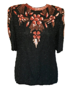 80s FRANK USHER 100% Silk Fire Sunset Black Beaded Sequinned Party Top B... - $42.00