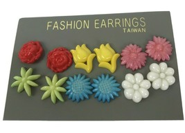 Vtg Flower Earrings pierced Plastic small dainty plastic on original car... - $10.84